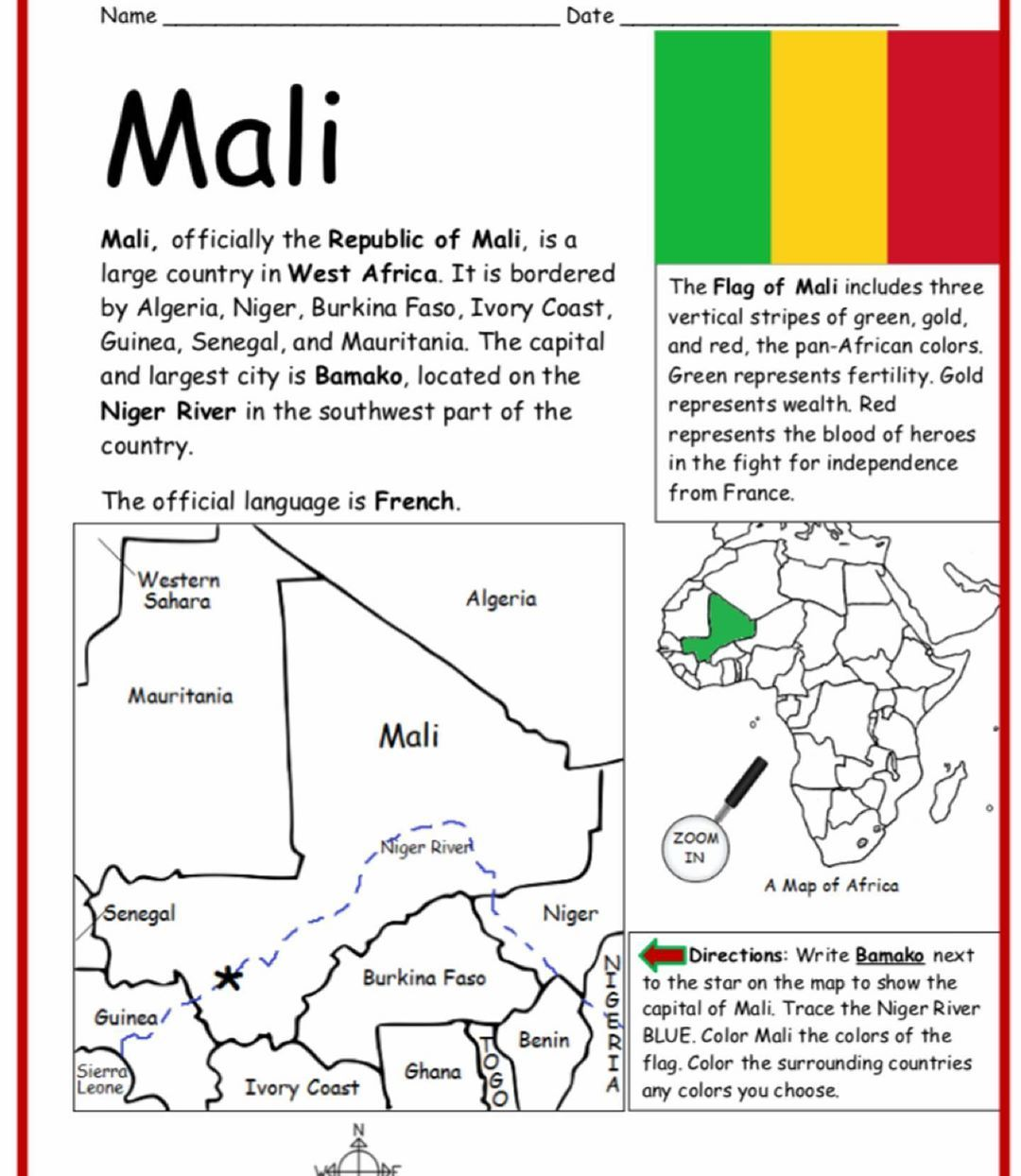 Learn About Mali With Basic Geography Worksheets Print