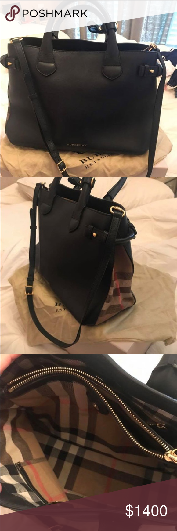 e24eb4b1cf0 Burberry BANNER tote Black leather with check side paneling, Burberry BANNER  style tote, medium