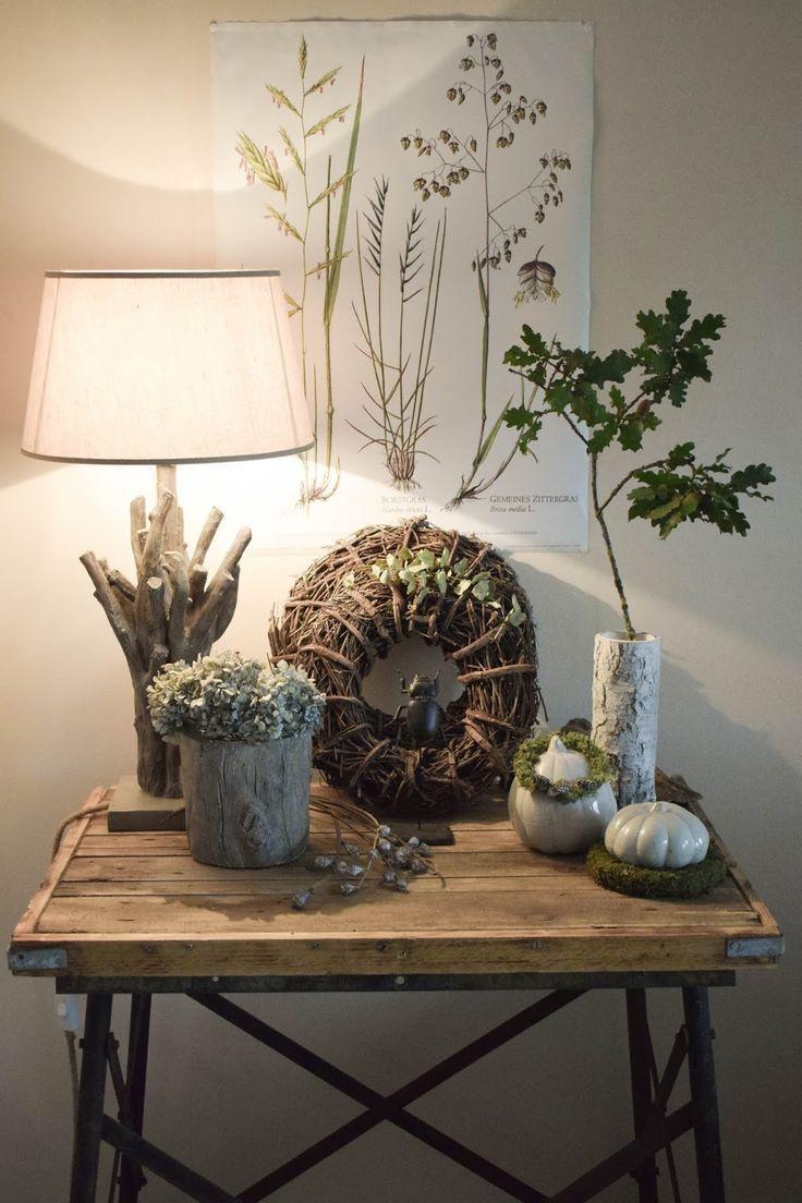 Deko Herbst für Konsole und Sideboard mit Eicheln. Herbstdeko