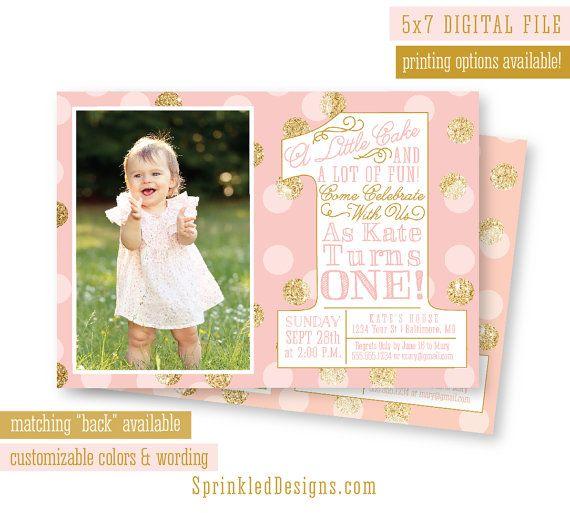 First birthday girl invitation photo card blush pink gold glitter first birthday girl invitation photo card blush pink gold glitter confetti mint aqua big filmwisefo