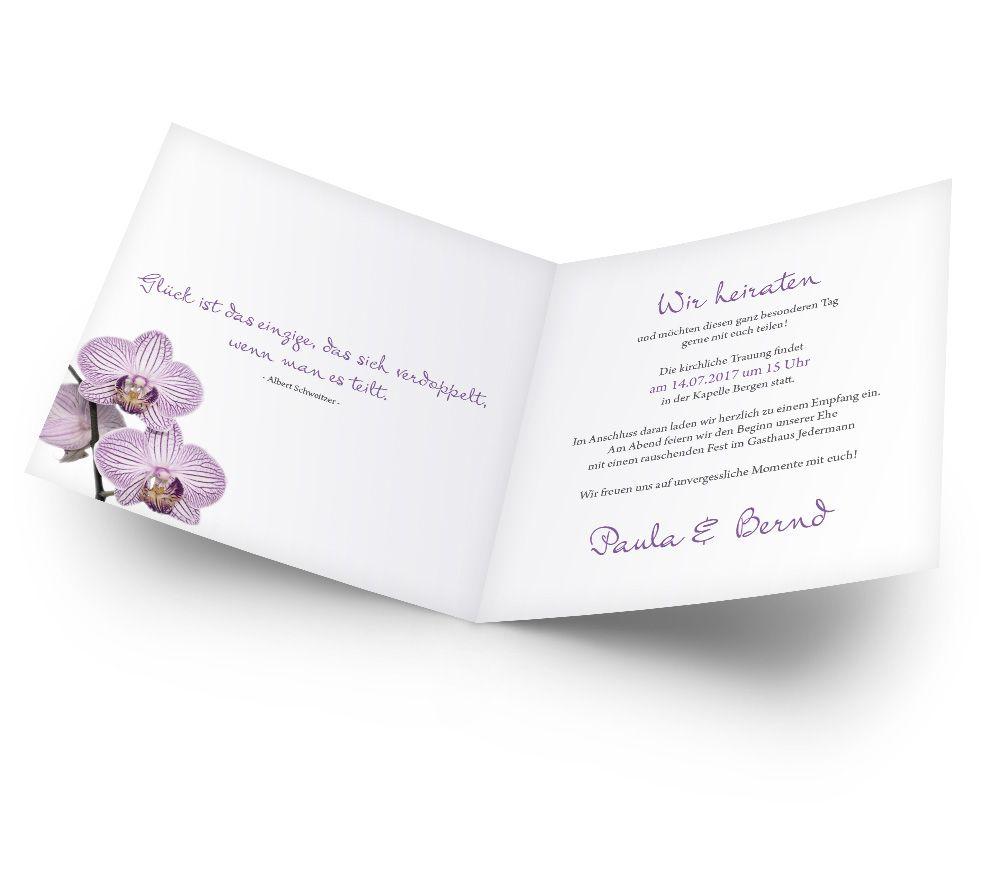 Diese Orchideen machen Ihre Hochzeitskarten edel und romantisch. Jetzt Blumen-Hochzeitseinladungen online bestellen