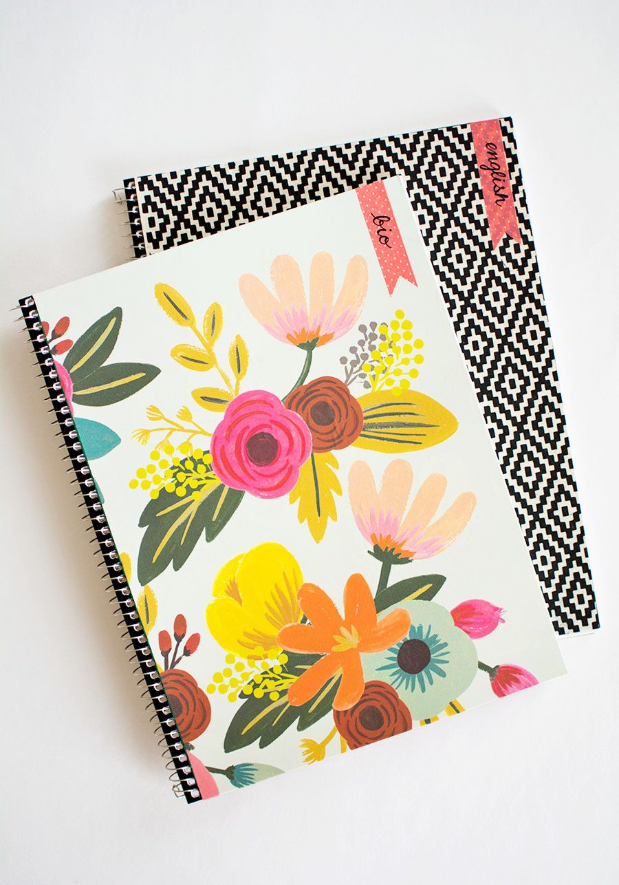 DIY Decorated Notebooks with Labels- PBteen Stylehouse | Decorate ...