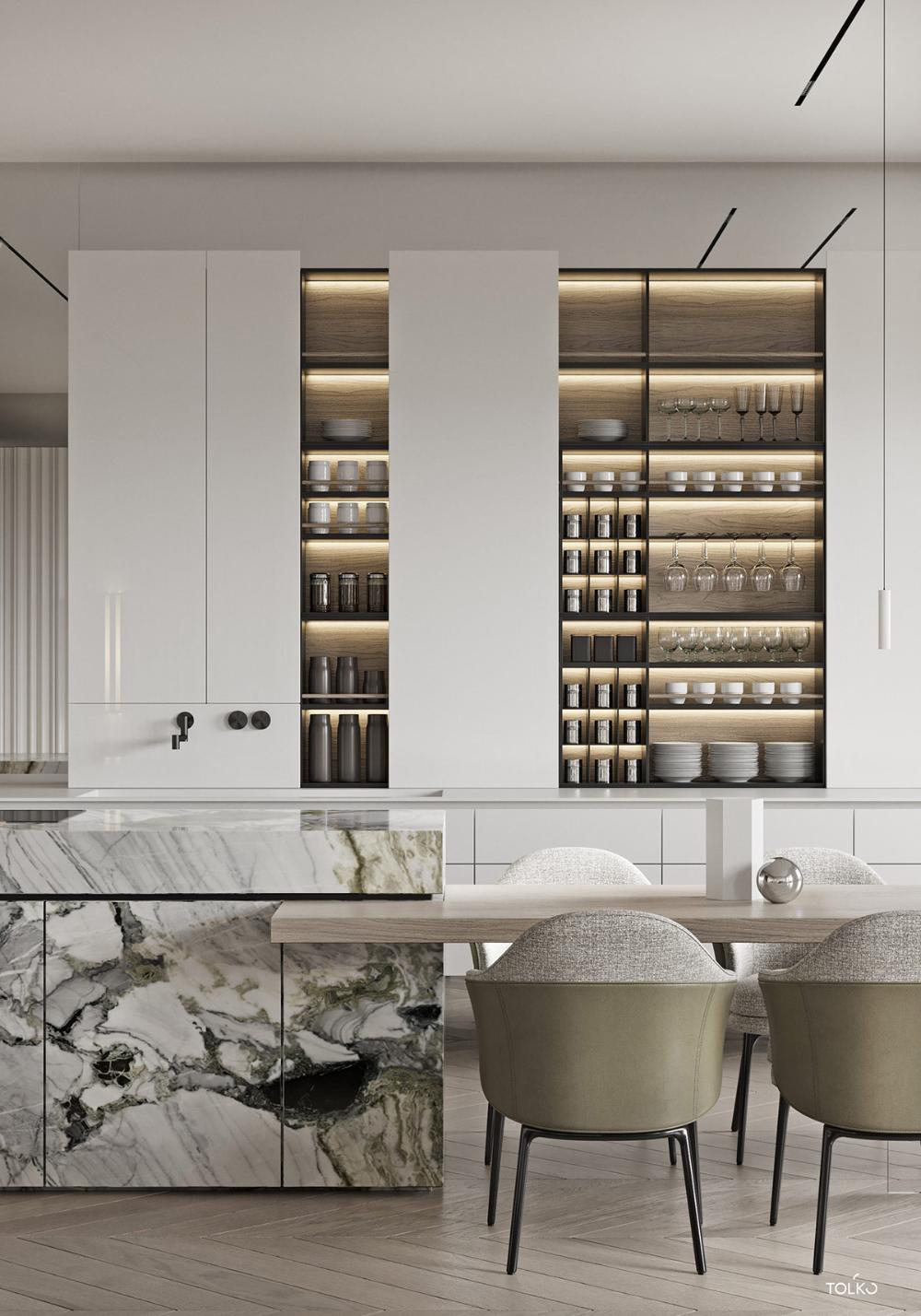 Marbled and Modern Interior Design In Moscow #interiordesignforkitchen