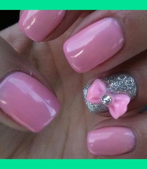 pink nails lips | Barbie pink nails with bow accent nail ...