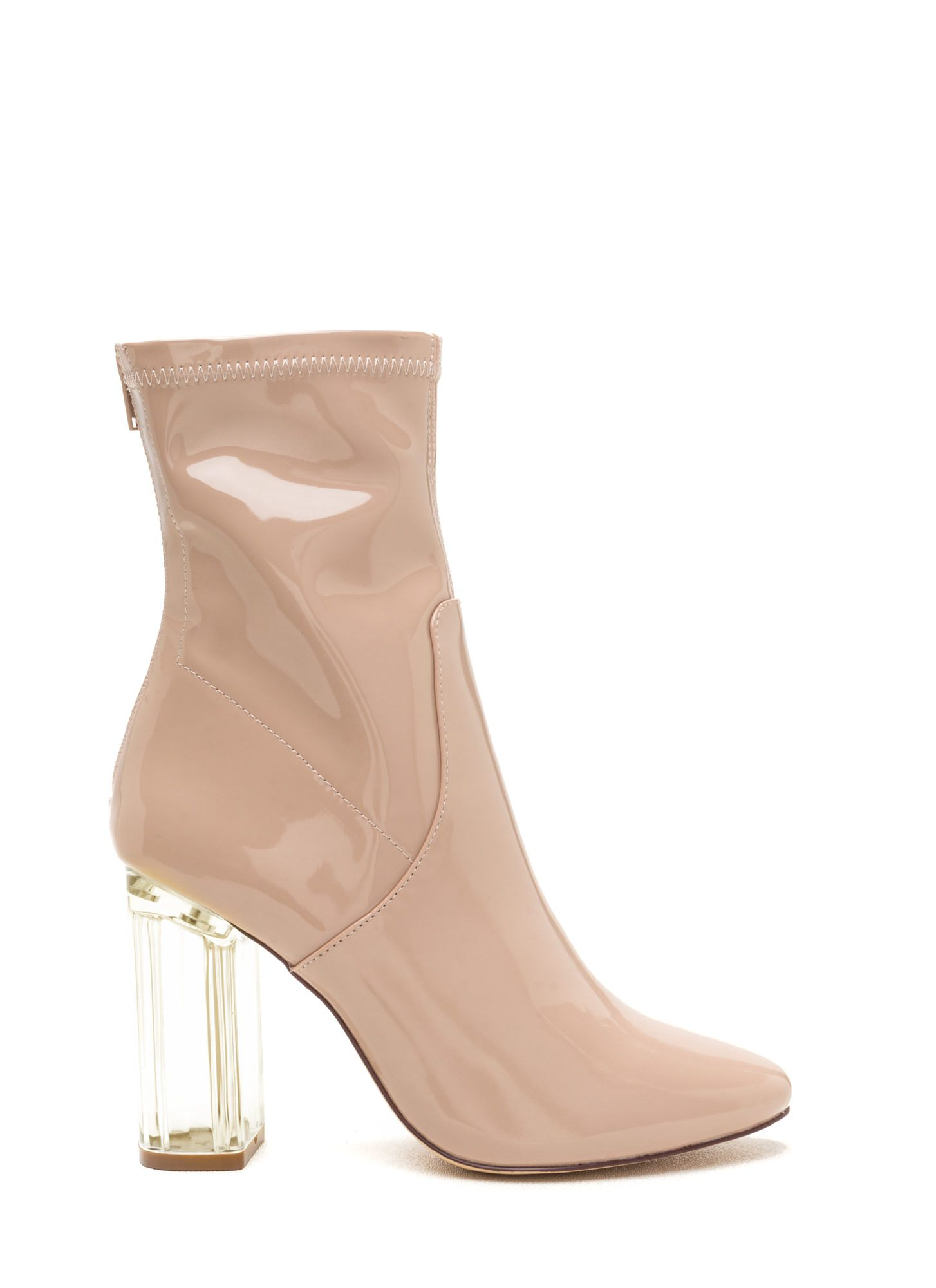 9feacca28 Clearly Chic Chunky Faux Patent Booties NUDE | shopping my style ...