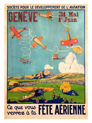 Geneve, Fete Aerienne | Airplanes, Art and Flying Posters Art Deco ...