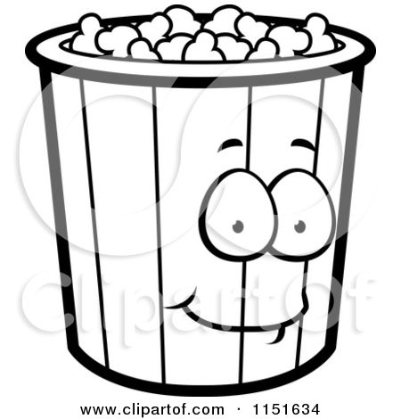 1151634 Cartoon Clipart Of A Black And White Popcorn Bucket Mascot