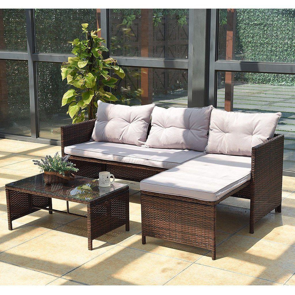 3 Pcs Rattan Wicker Outdoor Patio Sofa Set Furniture Sofa Set