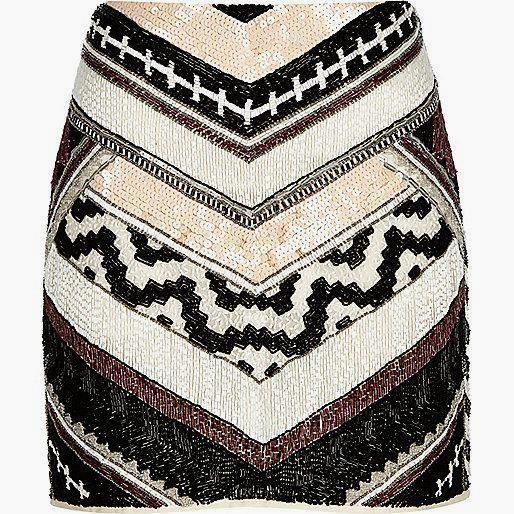 White chevron print      White chevron print beaded mini skirt | sequins | party season £65