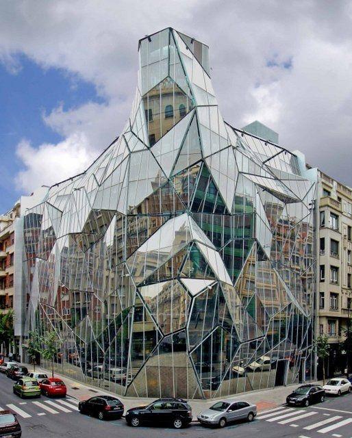Glas, transparante materialen, geometrische vormen, binnen-buiten