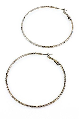 Trendy Fashion Jewelry Textured Hoop Earring By Fashion Destination  Hematite >>> See this great product. Note:It is Affiliate Link to Amazon.