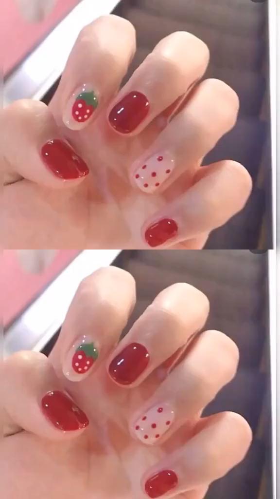 Strawberry Pattern Nail Art Video Tutorial
