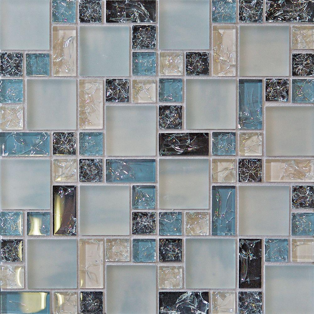 - Bedrosians Ice Crackle Random Sized Mosaic Gloss Matte Tile