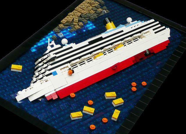 Mini Lego Costa Concordia Wreck | RMC | Lego boat, Lego ...