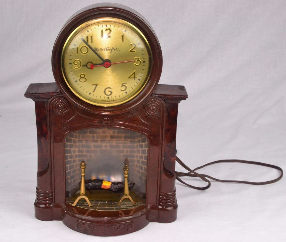 VINTAGE 1960'S MASTERCRAFTERS FIREPLACE CLOCK - PARTS OR RESTO ...