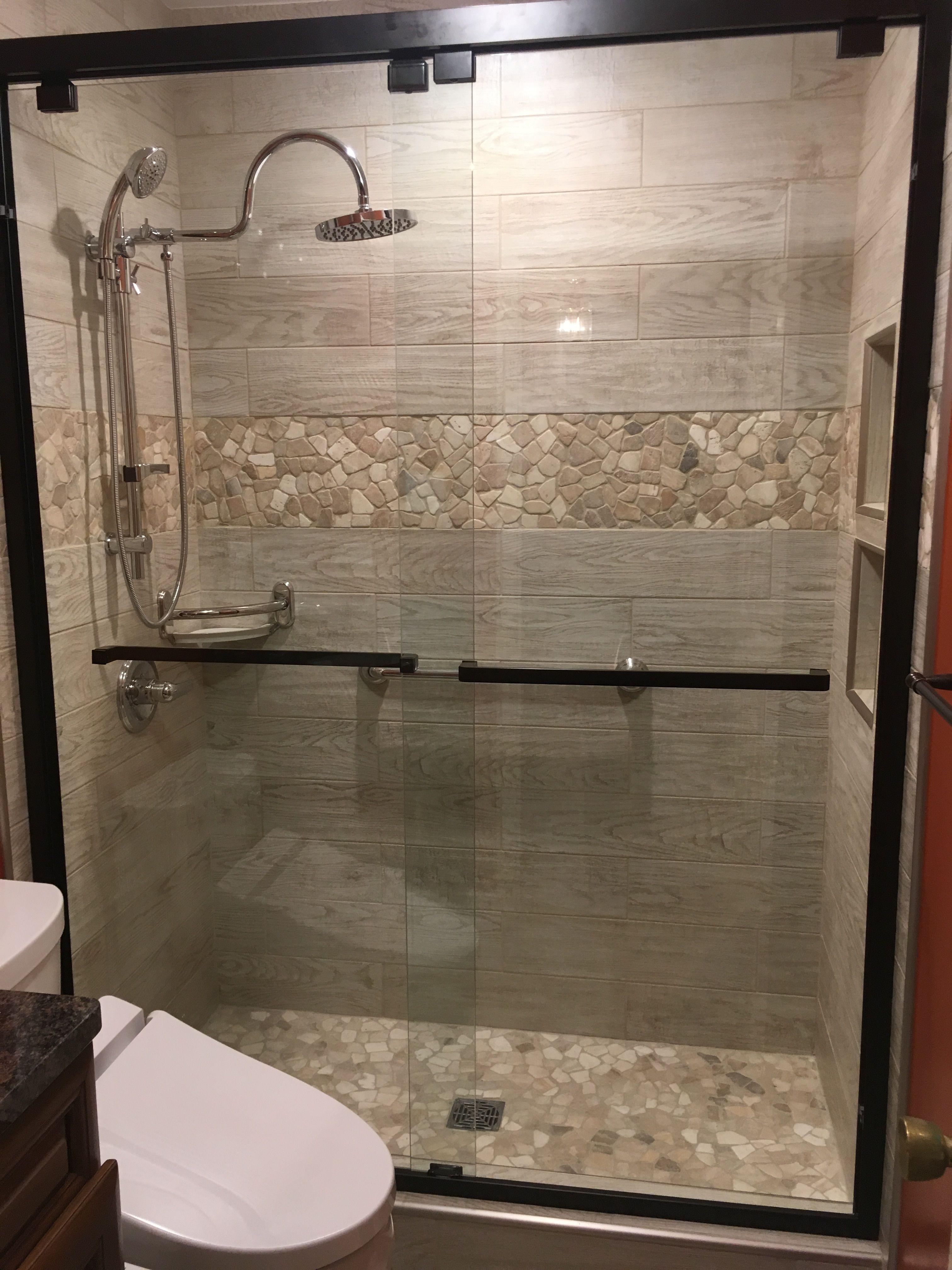 mixed quartz mosaic tile shower