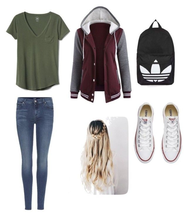 """Untitled #39"" by zain-mjalli on Polyvore featuring Gap, 7 For All Mankind, Converse and Topshop"