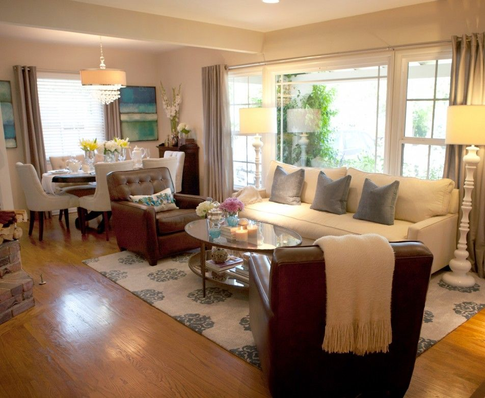 Living Room Elegant Living Room Decor Ideas With White Couch And Cushion And Brown Co Living Room Dining Room Combo Rectangle Living Room Dining Room Combo