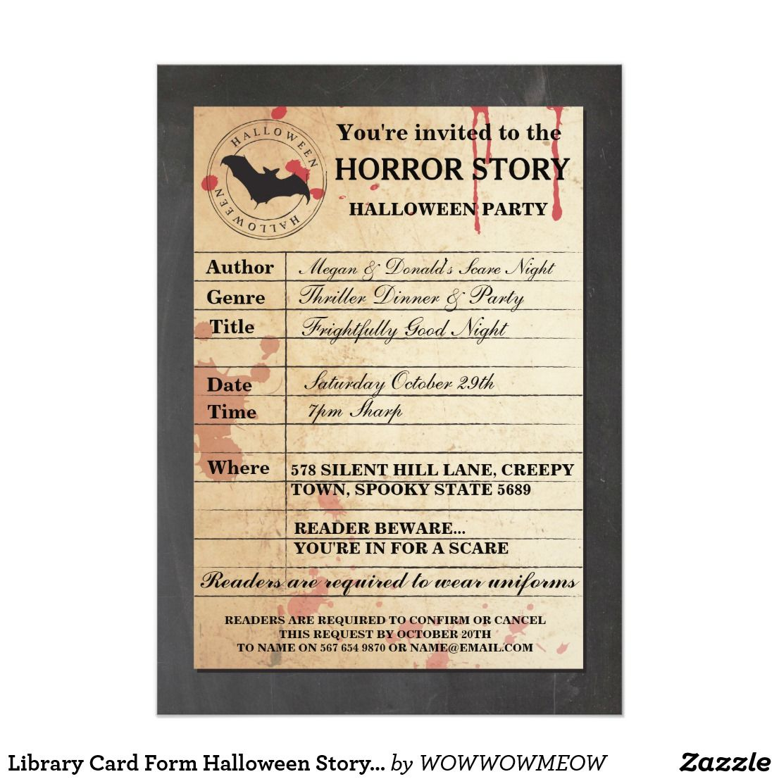 Library Card Form Halloween Story Party Invitation