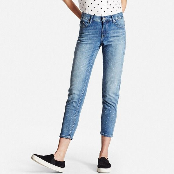 90922ee1 UNIQLO Slim Boyfriend Fit Ankle Jeans (66 CAD) ❤ liked on Polyvore  featuring jeans, blue, ripped boyfriend jeans, loose boyfriend jeans, blue  jeans, ...