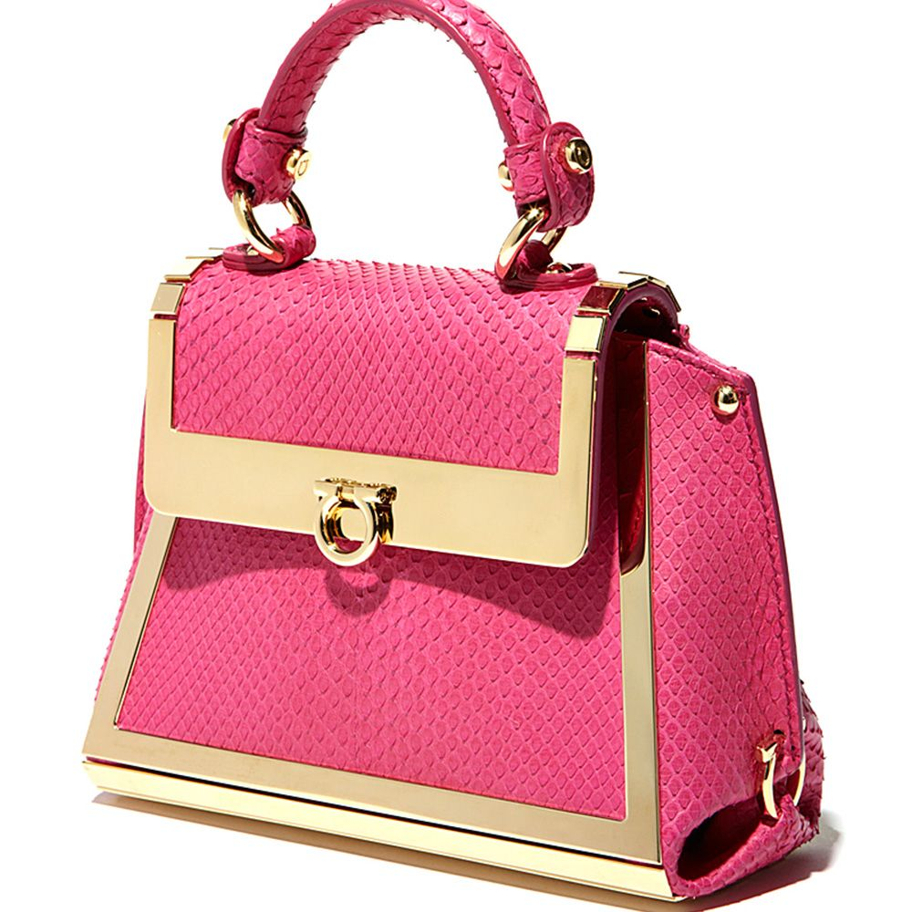 Valentine's Day: Ferragamo pink python mini Sofia bag with gold hardware for her. www.Ferragamo.com