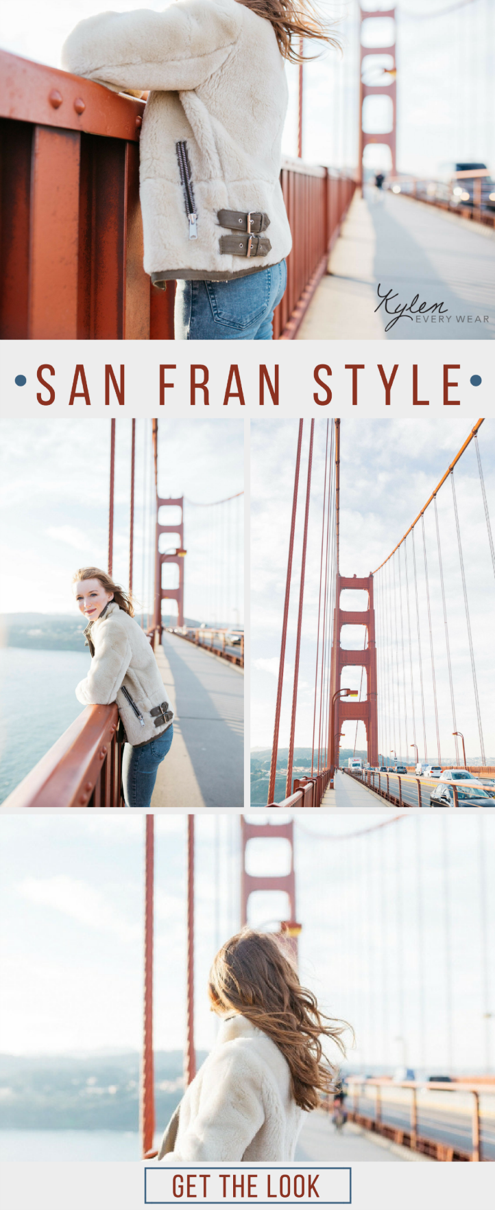 Shearling is very on trend this season. Practical and fashionable, it's the perfect choice for a little San Fran sightseeing.
