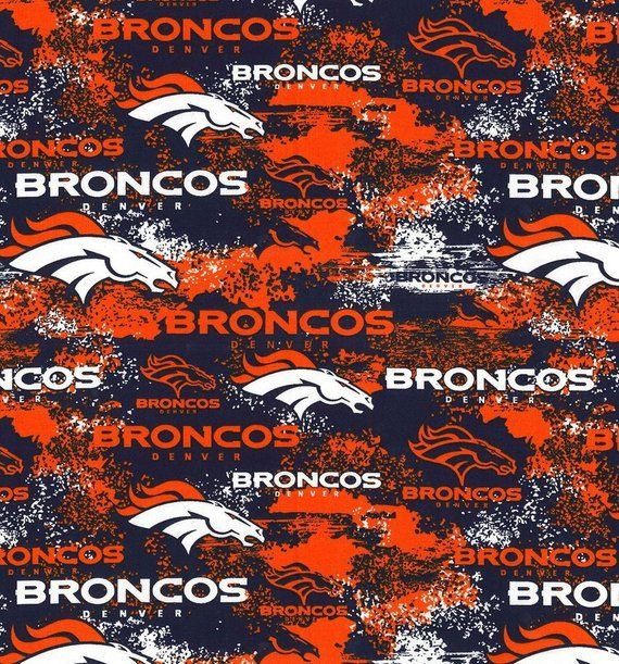 NFL DENVER BRONCOS Weathered Look Print Football 100% cotton fabric licensed material Crafts, Quilts