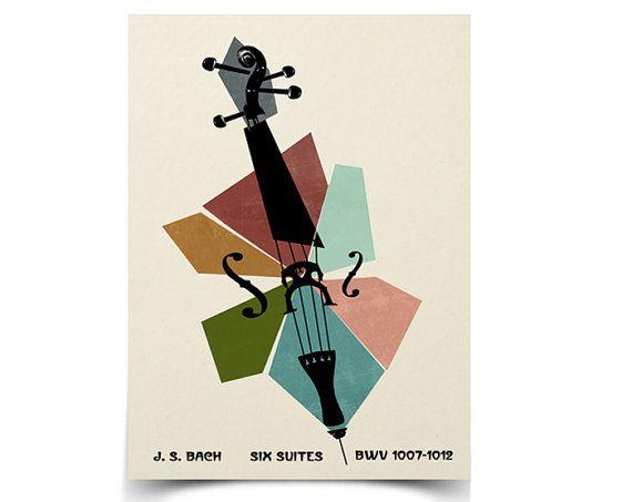 8 5 X 11 Affiche Suites Pour Violoncelle De Bach Music Poster Design Classical Music Poster Cello Art