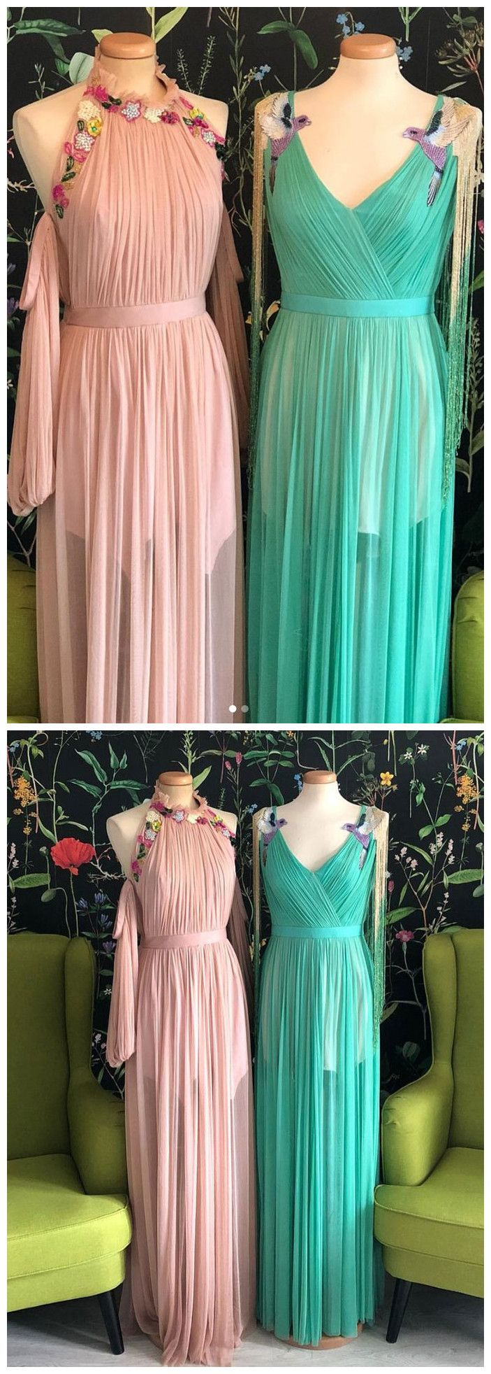 chic aline pink prom dresses with ruffles applique vintage prom