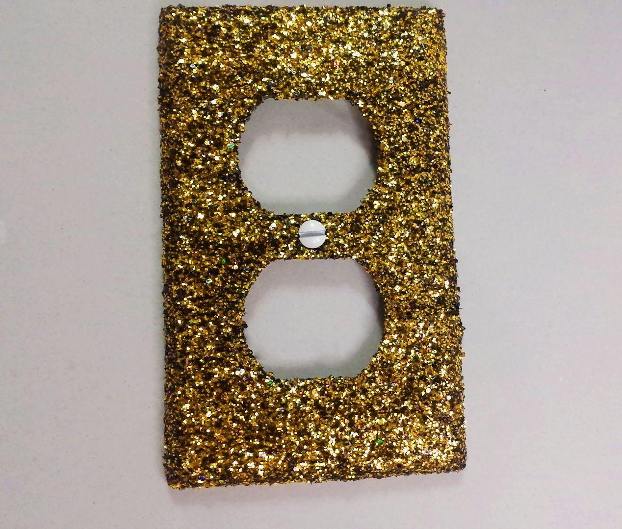 Decorative Light Switch Plates Black Yellow Gold Shiny Glitter Mix Decorative Bling Light
