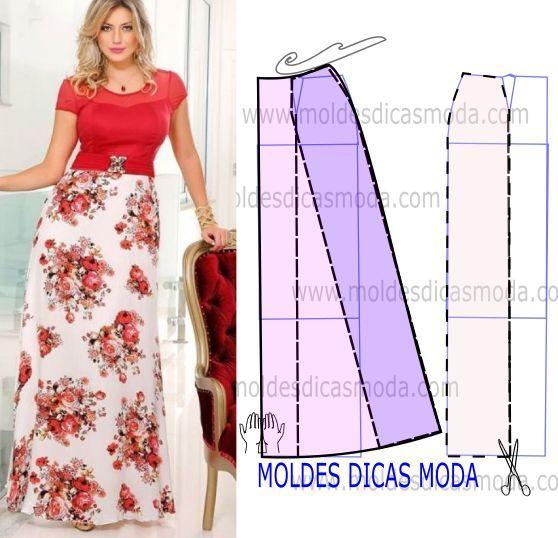 e59593b02 Moldes para hacer faldas largas juveniles | Выкройки | Patrones de ...