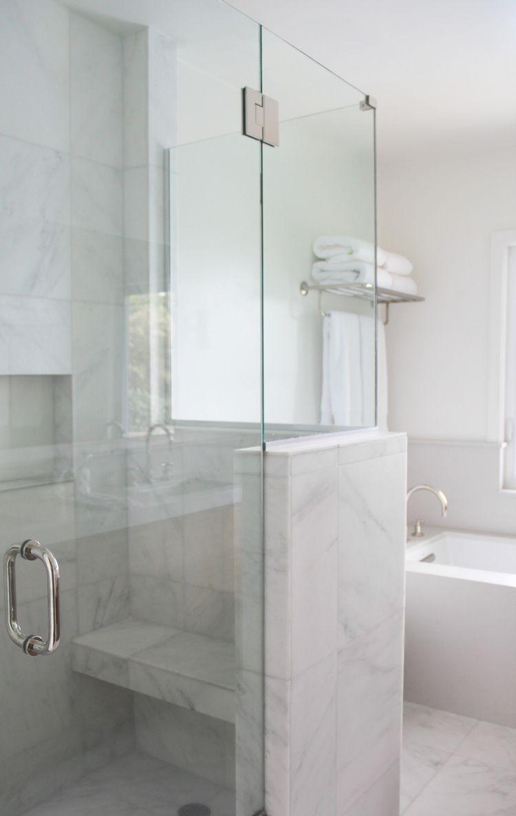 Navy Interior Design: Los Angeles Master Bath, Calacatta Tiles ...