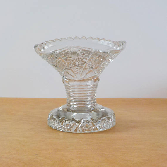 Vintage Clear Glass Vase Elegant Cut Or Pressed Glass Vase New