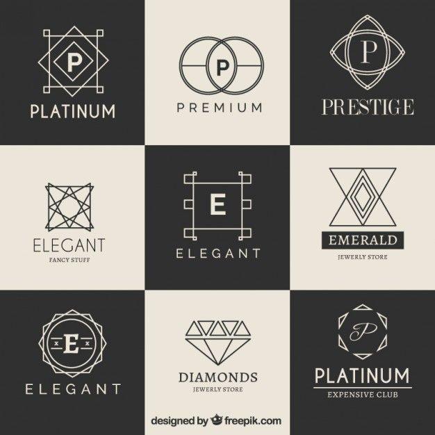 Collecte de logotype de luxe Vecteur gratuit