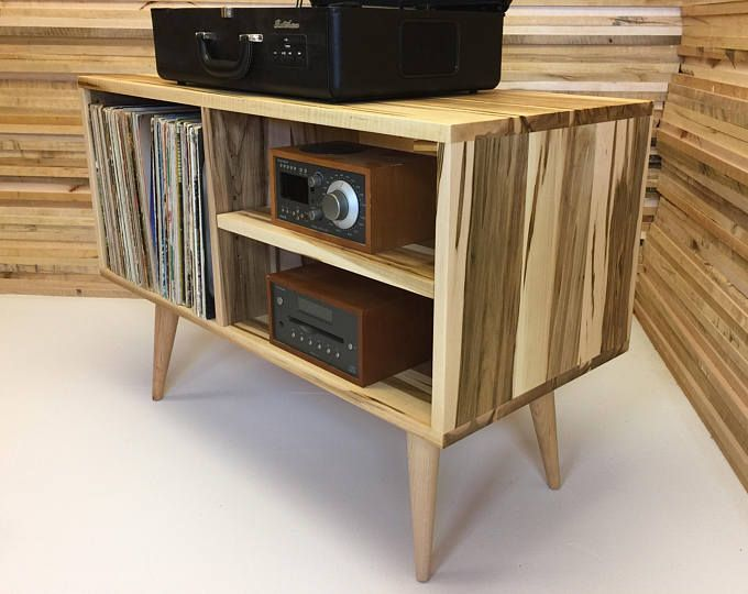 New Mid Century Modern Record Player Console Turntable Stand Stereo Cabinet With Lp Al Storage Featuring Wormy Maple