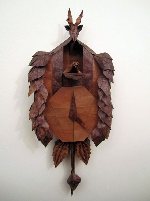 Robert Langs Black Forest Cuckoo Clock Folded In One Sheet Of Paper No Cuts Glue Just Folds