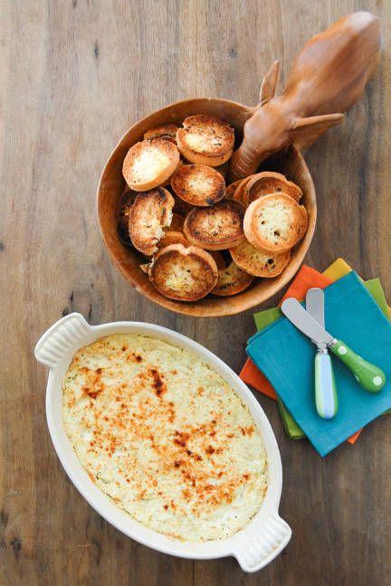Gluten-free Superbowl recipes: Hot Artichoke Dip and Garlic Rounds