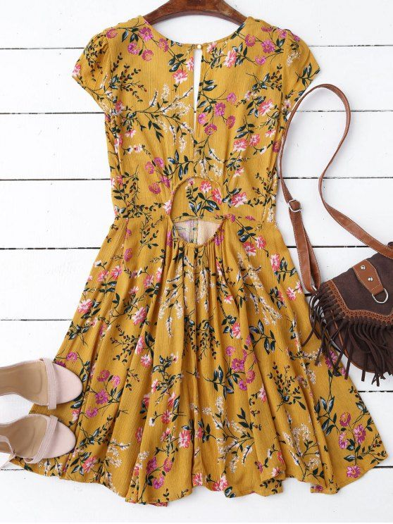 834b7d643a5 Women Fashion Yellow Floral Plunging Neck Cut Out Dress Great for casual