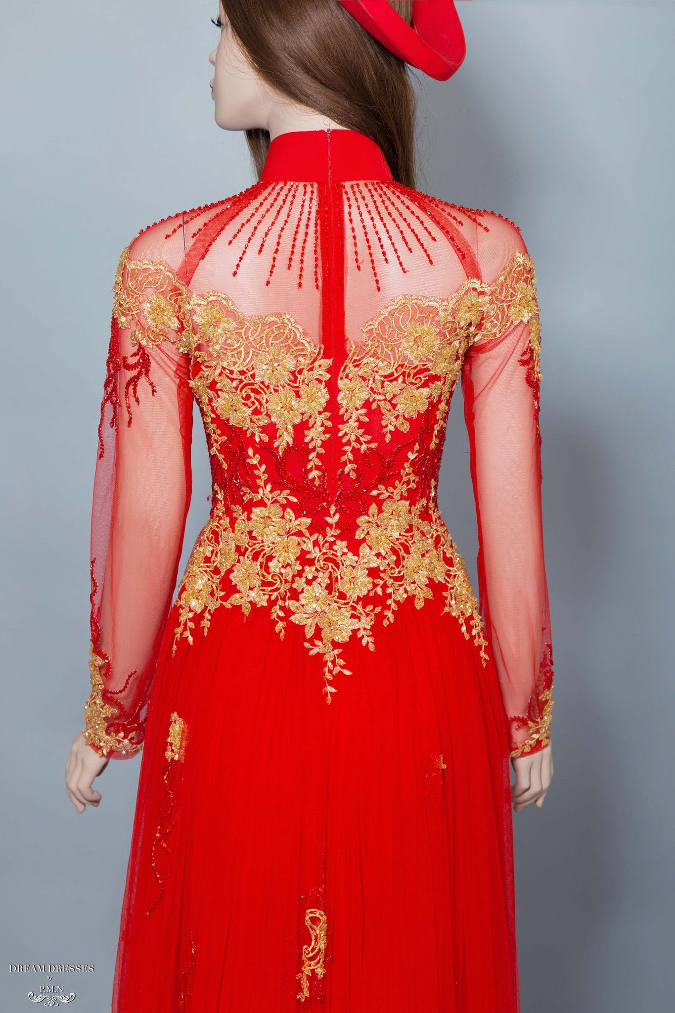 Red and Gold Ao Dai Vietnamese Bridal Dress with