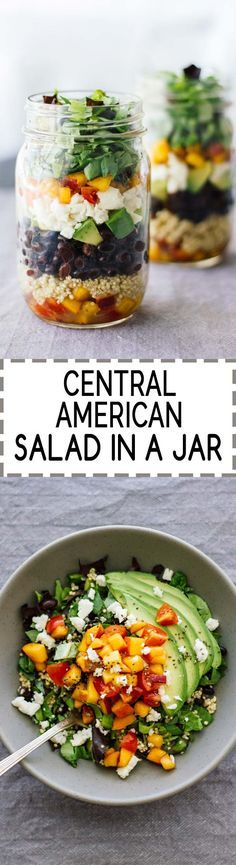 Central American Salad In A Jar! Vegetarian, easy to make, and gluten-free. So good!