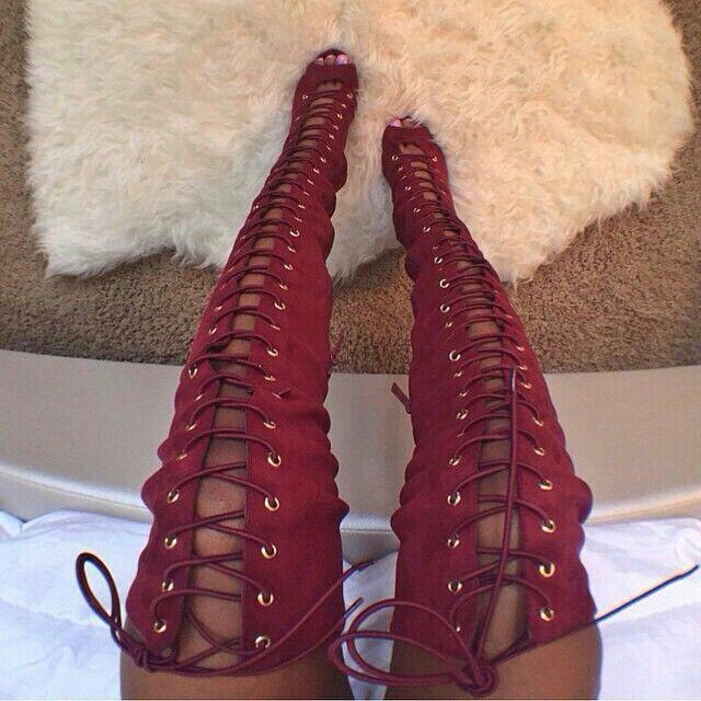 Thigh boots high heel red