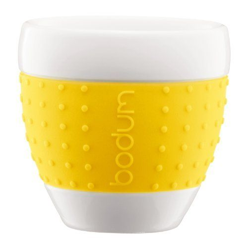 Elegant Bodum 8 Ounce Pavina Porcelain Cups With Silicone Grip, Yellow, Set Of 2 Awesome Ideas