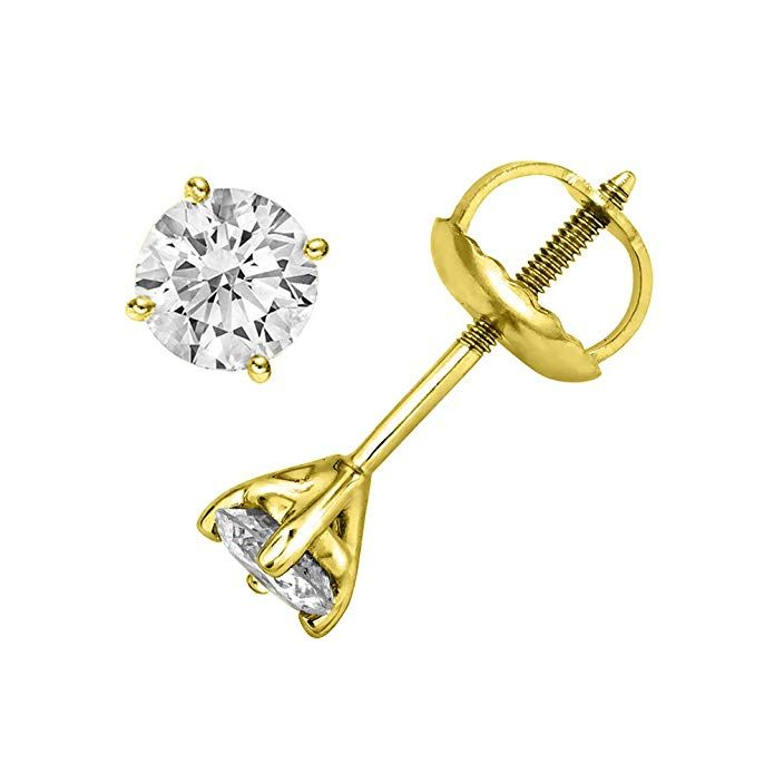 428968081 Round Cut Diamond Stud Earrings in 14K Gold (G-H Color, I3 Clarity) - IGI  Certified Review