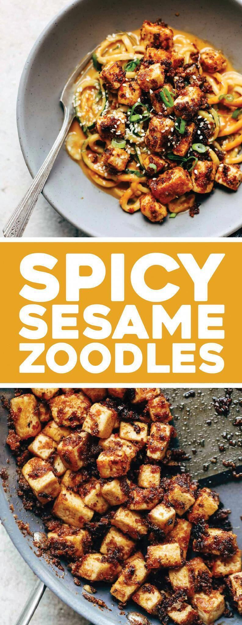 Spicy Sesame Zoodles with Crispy Tofu! SUPER easy recipe with familiar ingredients - soy sauce, peanut butter, sesame oil, garlic, zucchini, and tofu. Vegan / Vegetarian Sesame Zoodles with Crispy Tofu! SUPER easy recipe with familiar ingredients - soy sauce, peanut butter, sesame oil, garlic, zucchini, and tofu. Vegan / Vegetarian  
