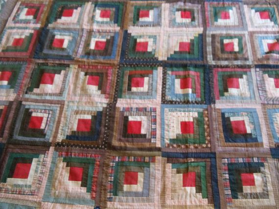 SALE  was 500.00 Antique Quilt Logcabin Turn of The Century Americana  Lightweight 72 X 79 Bedding Hand Stitched on Etsy, $200.00