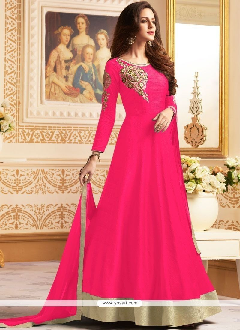 Hot Pink Banglori Silk Floor Length Anarkali Suit beautiful gowns