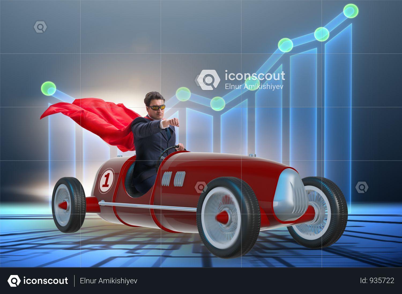 Superhero Businessman Driving Vintage Roadster Photo Business Man Roadsters Superhero