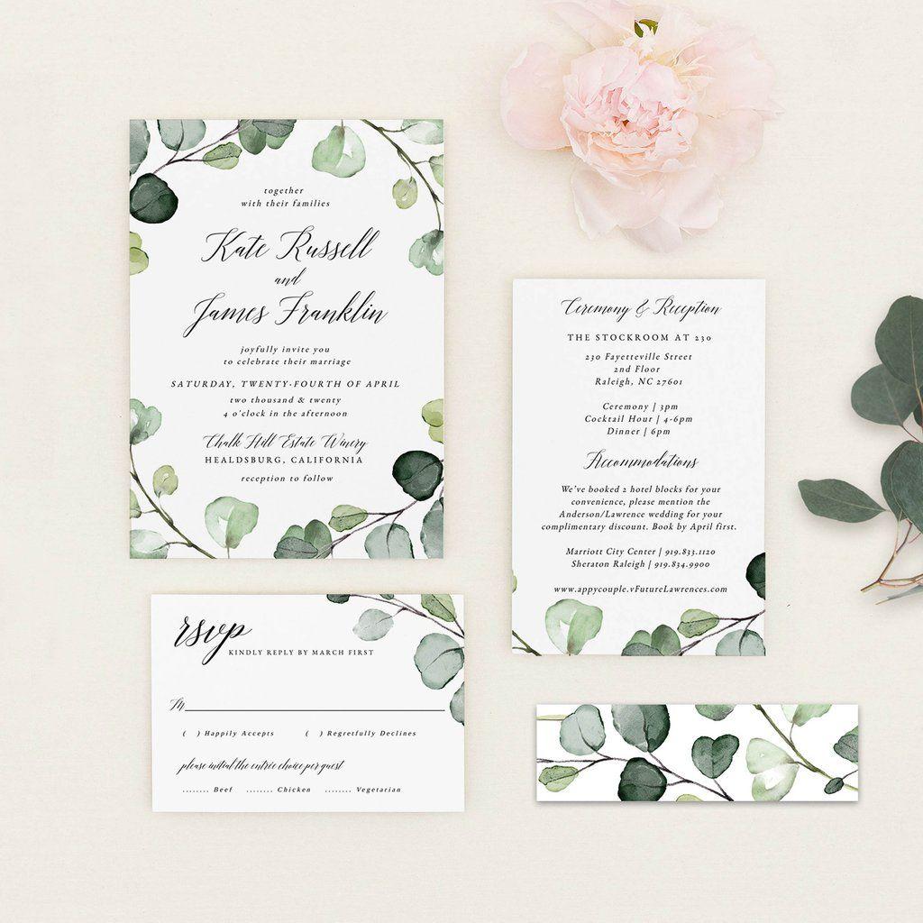 Partecipazioni Matrimonio Template.Eucalyptus Wedding Invitation Pdf Template Inviti Per