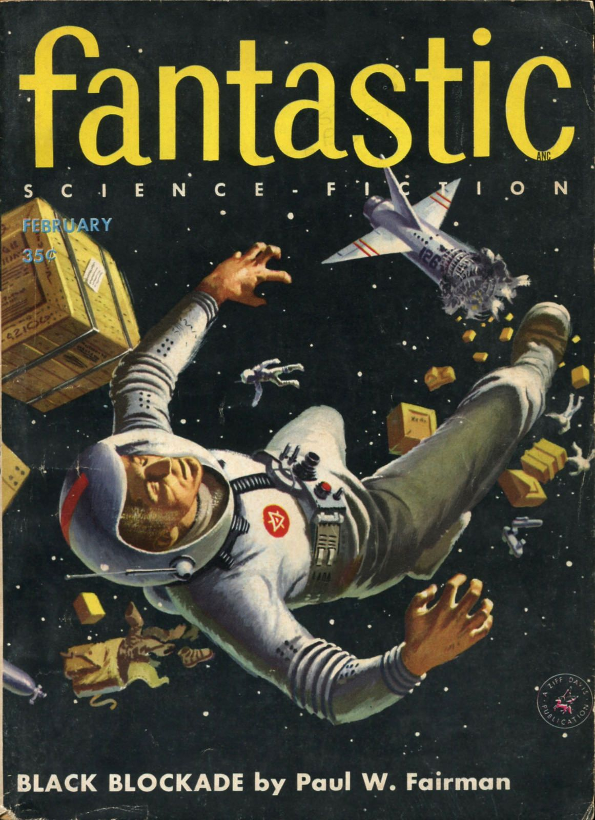 Fantastic vol 5 no 1, February 1956. Cover by Ed Valigursky., vintage sci fi