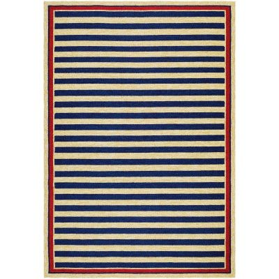 Covington Nautical Stripes Navy And Red Outdoor Rug By Couristan